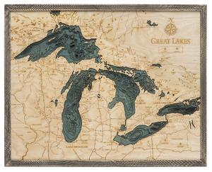 "Great Lakes 3-D Nautical Wood Chart, Large, 24.5"" x 31"" GRL-D3L"